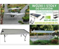 Stoły zalewowe, stół wystawowy i uprawowy oraz wózki duńskie